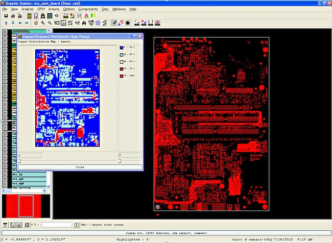 PCB copper distribution under DFM verification.