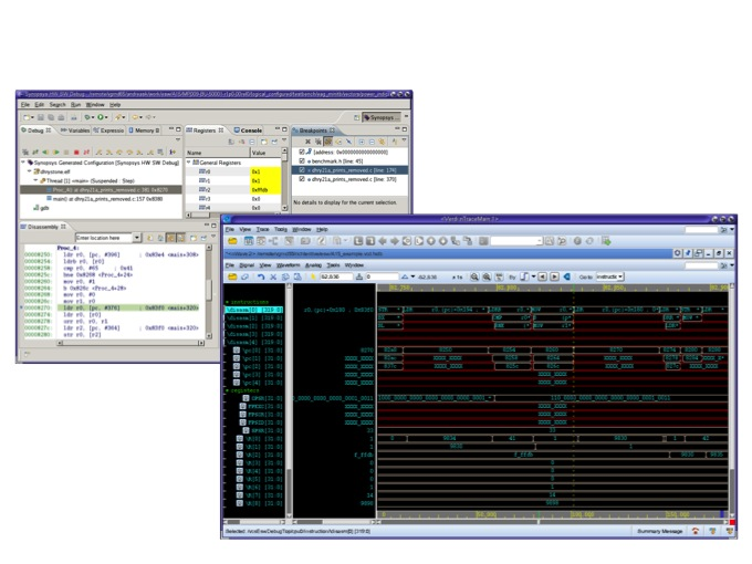 Verdi's hardware/software debug facility synchronizes RTL and programmer views (Source: Synopsys)