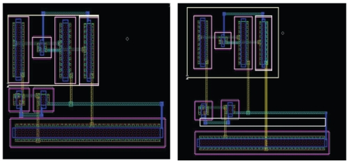 The OTA layout placed on minimum spacing is shown on the right. The modified layout after using the LDE module is on the lef