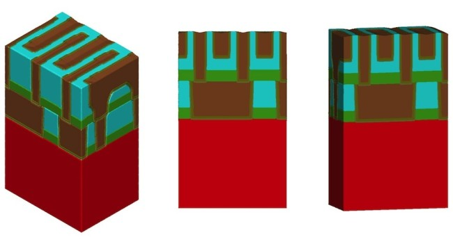 SEMulator3D Model of 48nm-pitch SADP BEOL with 10% thin spacer deposition, 10% sidewall coverage deficit and slightly aggressive lateral etch. The isometric view (at left) shows how adjacent lines behave differently due to spacer variations (grow/shrink). The cross-sectional view (centre) shows a risky 11.5nm insulator spacing at the top of adjacent line. The slight-tilt view (at rght) is included for completeness.