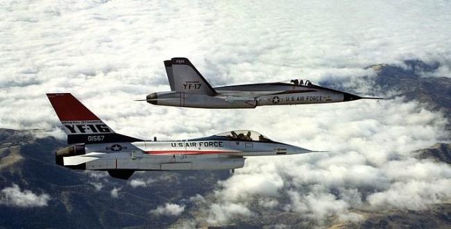 The original F16 prototypes in flight (Source: USAF)