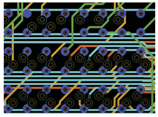 Wide routing channels as a result of HDI fanout (Source: Mentor Graphics)