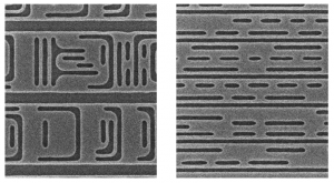 Blocks of patterned M1 layers using bidirectional (left) and unidirectional routing (Source: CMU/IBM GRATEdd)
