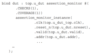 Assertion block instantiated using 'bind' (Source: Mentor Graphics)