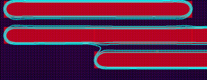 The contours represent the simulated fabricated device. The three curves represent anticipated process variation (Source: Lukas Chrostowski, University of British Columbia)