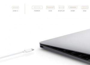 Apple's 2015 MacBook includes a multi-function Type-C connector (Source: Apple)