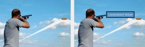 Skeet shooting with constrained vision poses a big challenge to the shooter