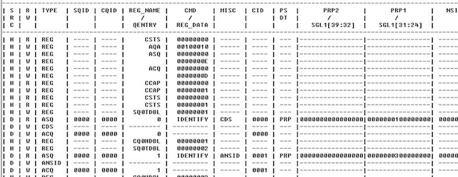 Figure 8. NVMe beat log (Mentor Graphics)