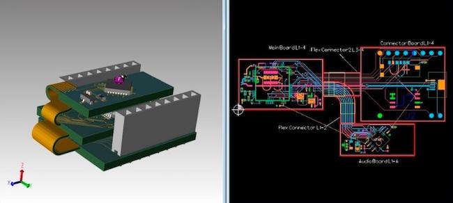 Figure 2. Vizualizing rigid-flex in 3D and 2D environments (Mentor)