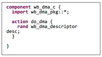 Figure 4. Declaring an 'action' within a 'component' (Mentor)