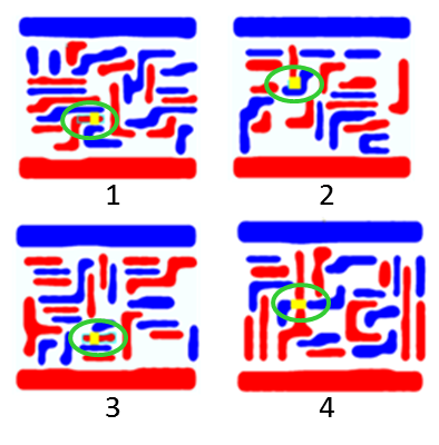 Figure 6. Four lithographic hotspots were identified after lithographic simulation.