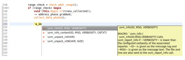 Figure 4. An IDE can autocomplete text macros, including arguments (AMIQ EDA)