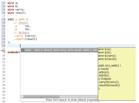 Figure 5. An IDE can show all information needed for a module instantiation (AMIQ EDA)