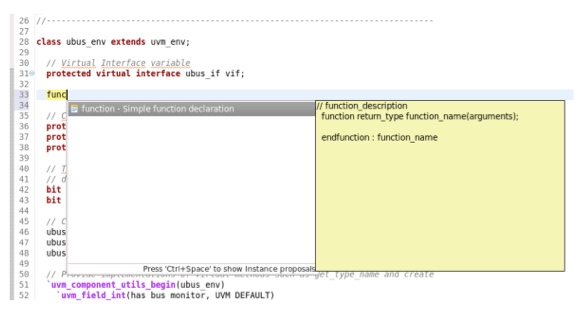 Figure 7. An IDE can provide a template to define new functions (AMIQ EDA)