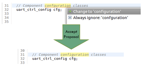 Figure 1. An IDE can offer proposals to fix spelling errors (AMIQ EDA)