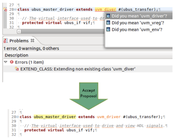 Figure 2. An IDE can offer proposals to correct typos (AMIQ EDA)