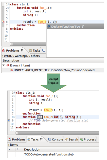 Figure 4. An IDE can offer proposals to declare methods that do not exist (AMIQ EDA)