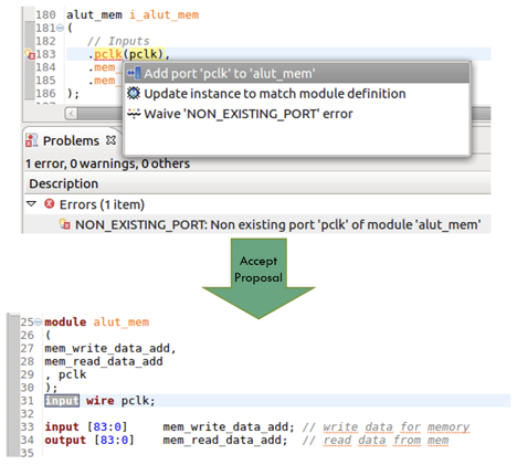 Figure 5. An IDE can offer proposals to add missing module ports (AMIQ EDA)