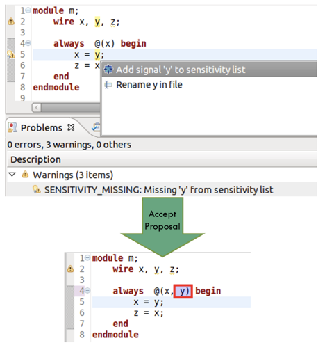 Figure 6. An IDE can offer proposals for missing items in sensitivity lists (AMIQ EDA)