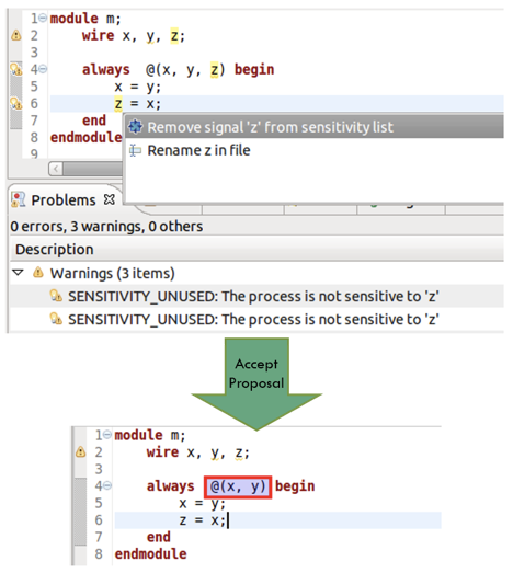Figure 7. An IDE can offer proposals to remove spurious items in sensitivity lists (AMIQ EDA)