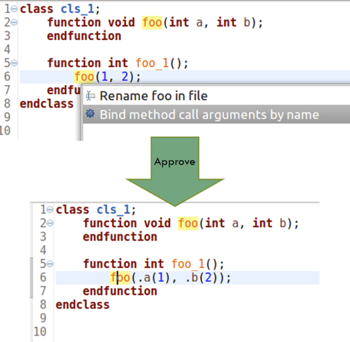 Figure 2: An IDE can automatically convert argument bindings from positional to named (AMIQ EDA).