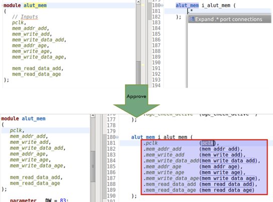 Figure 3: An IDE can automatically convert from wildcard to named argument bindings (AMIQ EDA).