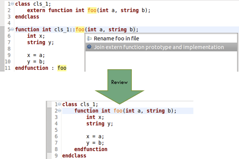 Figure 4: An IDE can join an out-of-block method implementation with the prototype within the class (AMIQ EDA).