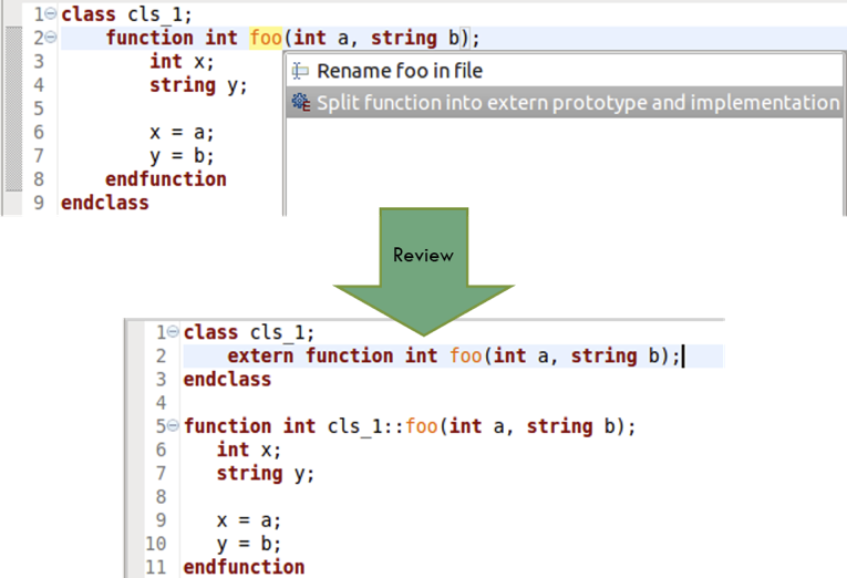 Figure 5: An IDE can split a method from a class into a prototype and an out-of-block implementation (AMIQ EDA).