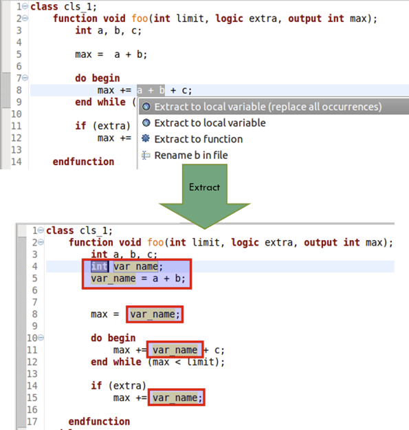 Figure 6: An IDE can automatically extract an expression to a new variable (AMIQ EDA).