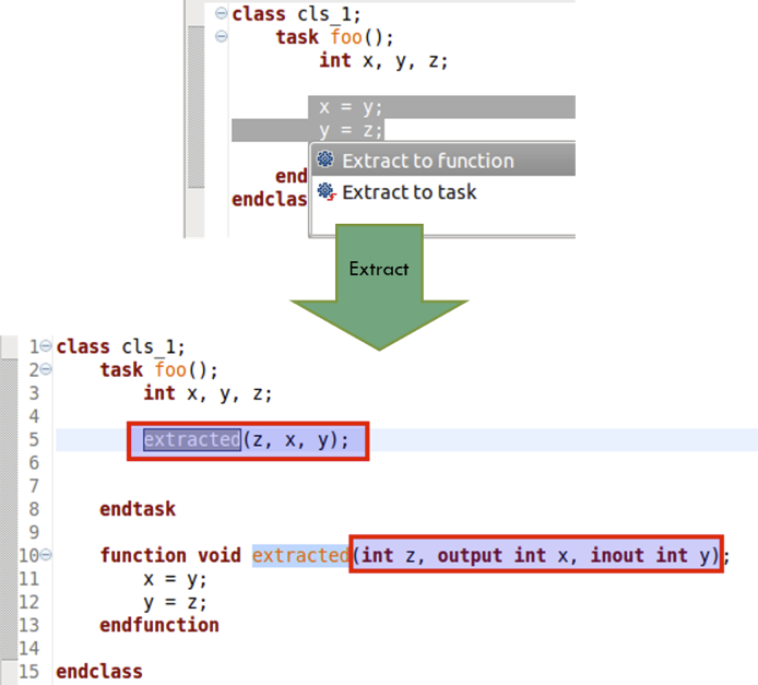 Figure 7: An IDE can automatically extract a section of code to a new function (AMIQ EDA).