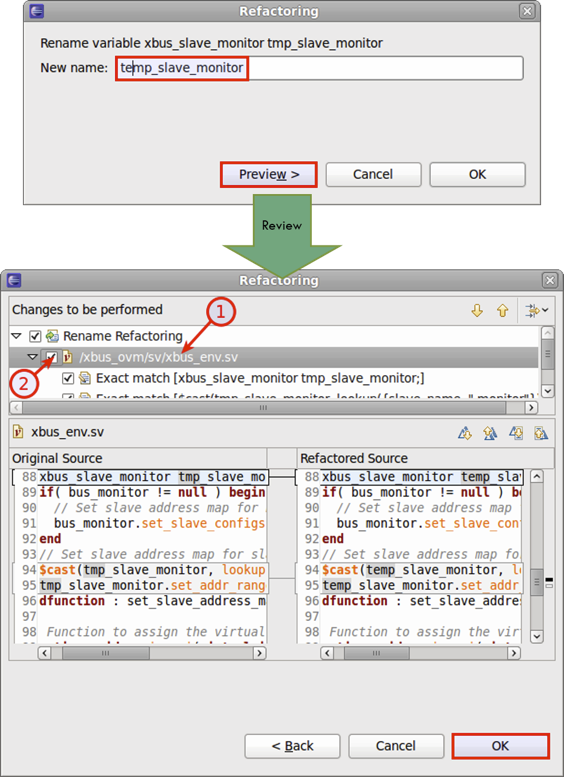 Figure 8: An IDE can automatically rename variables, modules, types, and other elements (AMIQ EDA).