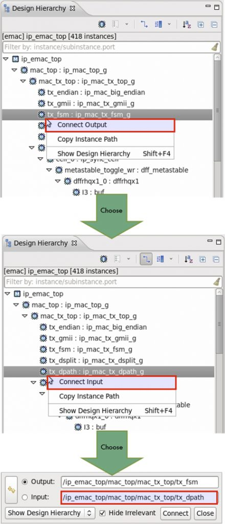 Figure 2: The IDE can create and connect two new ports (AMIQ EDA).