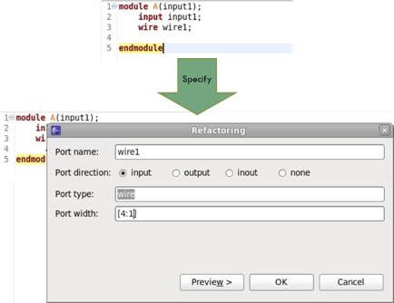 Figure 4: The IDE can easily convert an internal signal to a port (AMIQ EDA).