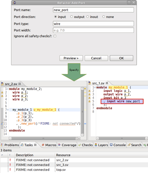 Figure 5: The IDE can add a new port and highlight where updates are needed (AMIQ EDA).
