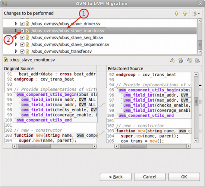 Figure 8: An IDE can apply a refactoring script for OVM-to-UVM migration (AMIQ EDA).