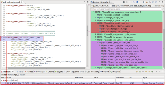 Figure 6. The IDE can detect errors in a UPF or CPF power specification (AMIQ EDA)