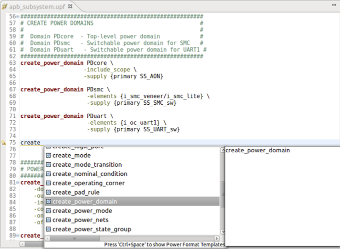Figure 7. The IDE can help create a UPF or CPF power specification (AMIQ EDA)