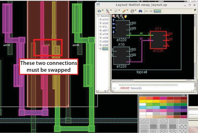 Viewing highlight in the layout viewer vs. the layout schematic viewer shows which connections must be swapped