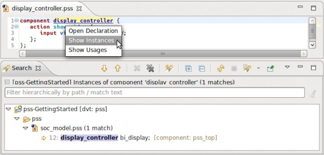 The IDE can search and display all instances of a component (AMIQ EDA)