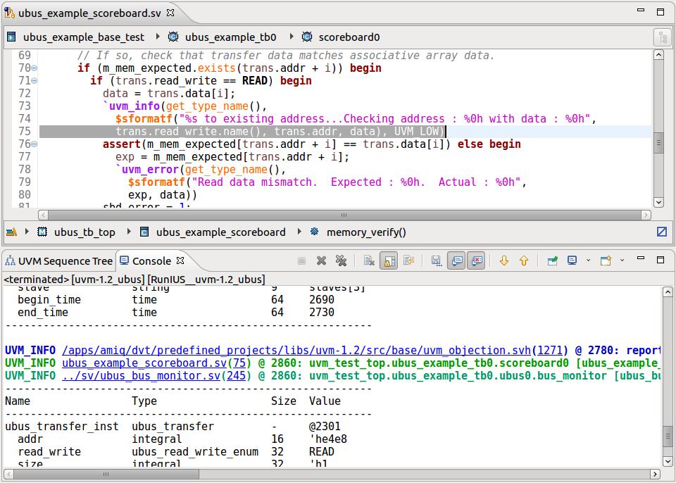 Figure 5: The IDE provides a hyperlinked smart log (AMIQ EDA).