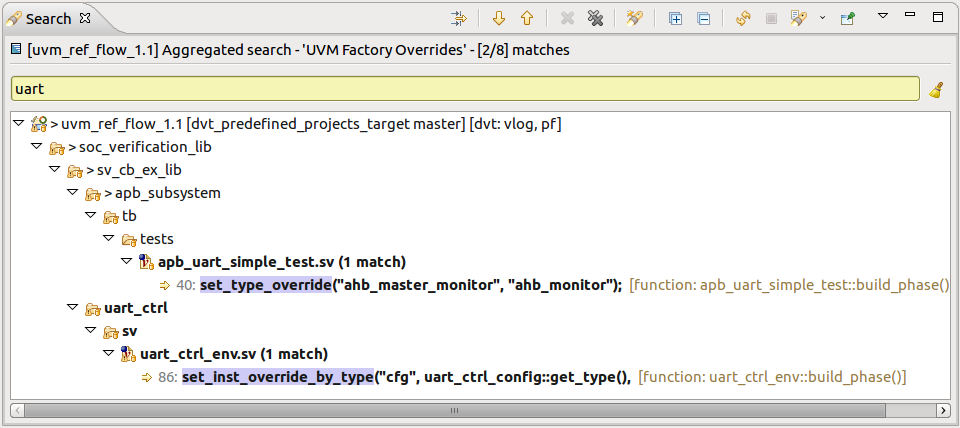 Figure 6: The IDE provides a query for factory-related constructs (AMIQ EDA).