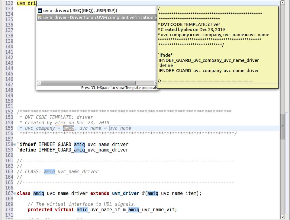Figure 8: The IDE provides autocompletion templates for UVM components (AMIQ EDA).
