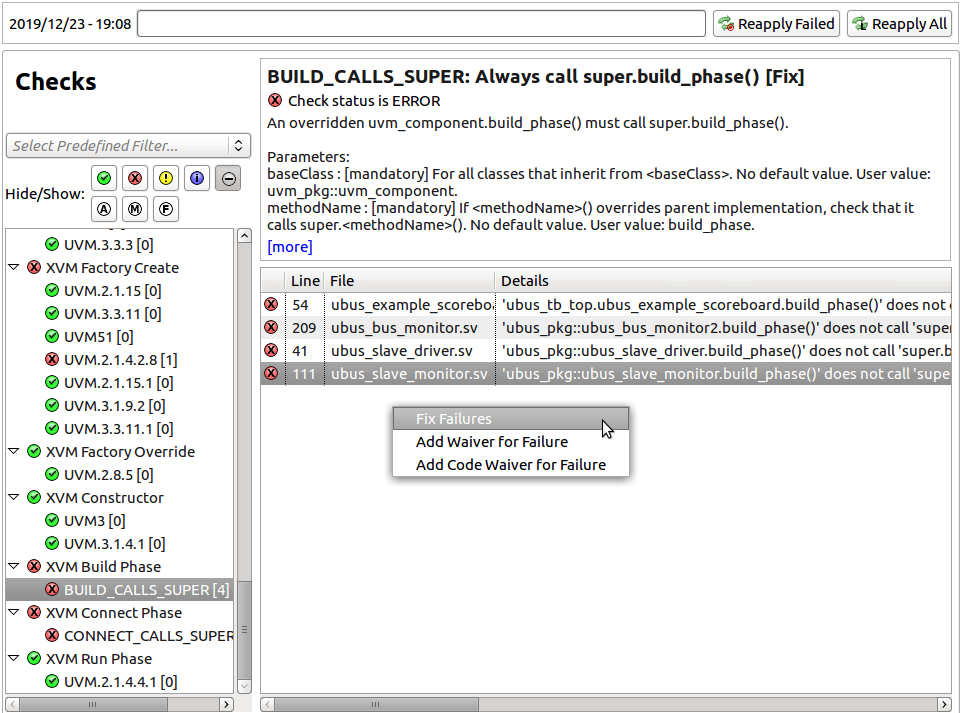 Figure 9: The IDE links to SystemVerilog testbench lint capabilities (AMIQ EDA).