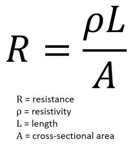 Figure 3. Resistance of a wire formula (Mentor)