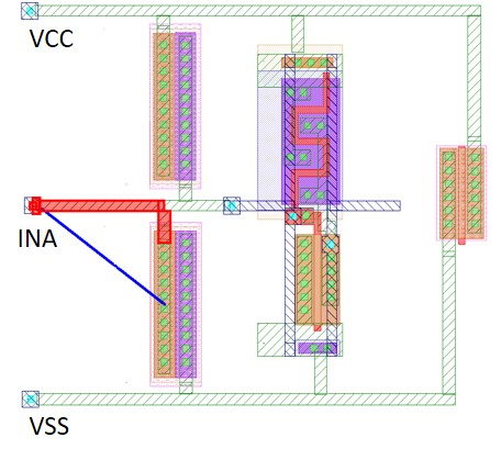 Figure 4. All polygon segments of an ESD path with a total resistance violation are highlighted (in red) in the layout viewer
