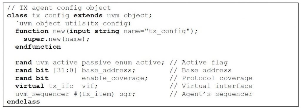 Figure 1. A simple agent config object class (Mentor)