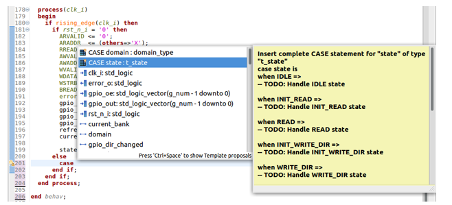 Figure 10: An IDE can provide templates for VHDL constructs (AMIQ EDA)
