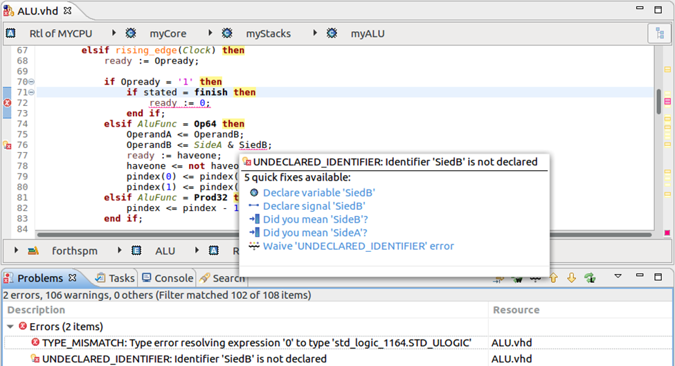 Figure 1: The IDE can detect and correct incorrect references (AMIQ EDA - click to enlarge)
