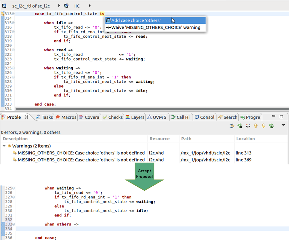 Figure 2. The IDE can offer to add a missing case alternative (AMIQ EDA -click to enlarge)
