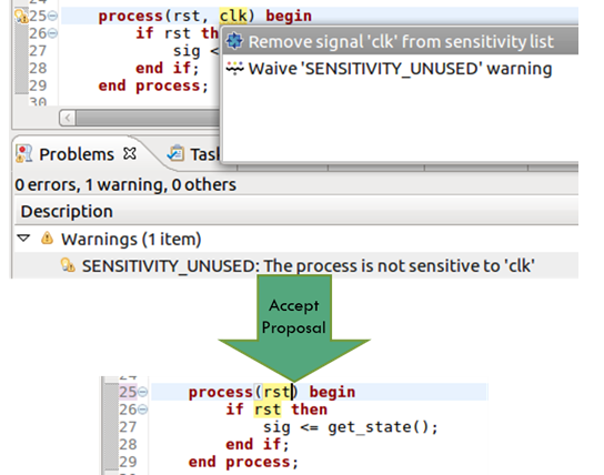 Figure 4. The IDE can remove an unused signal from a sensitivity list (AMIQ EDA)